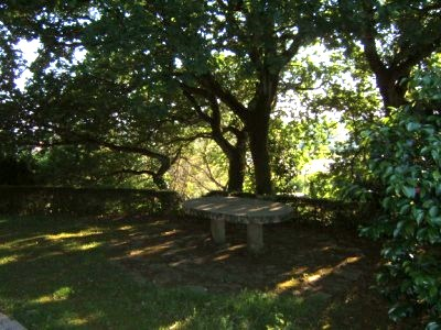 Sitting area in secluded garden around outdooor stone table
